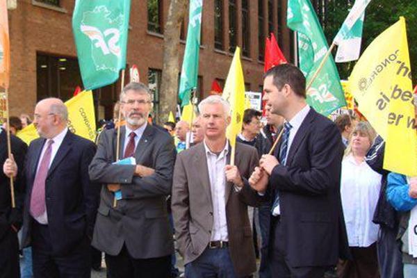 Seán Crowe TD at demonstration